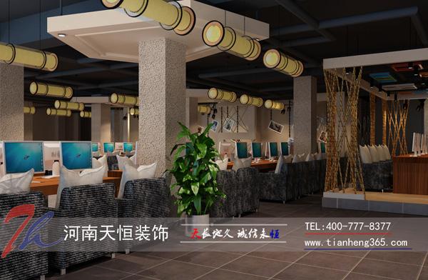 郑州上街区500平方网吧装修案例效果图